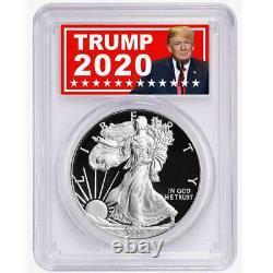 2020-w Proof $1 American Silver Eagle Pcgs Pr70dcam Trump 2020 Label