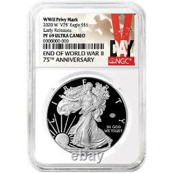 2020-w Proof $1 American Silver Eagle Wwii 75th V75 Ngc Pf69uc Er V-day Label