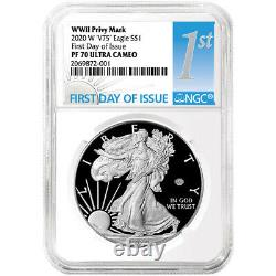 2020-w Proof $1 American Silver Eagle Wwii 75th V75 Ngc Pf70uc Fdi First Label