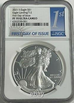 2021 S $1 Ngc Pf70 Fdoi Ultra Cameo Premier Jour Preuve Silver Eagle Landing Type 2