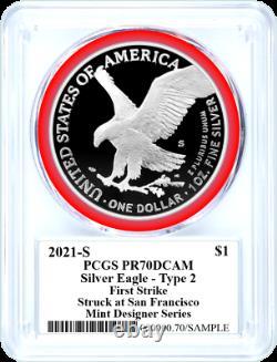 2021 S $1 Proof Silver Eagle Type 2 Pcgs Pr70 Dcam Première Grève Damstra Signé