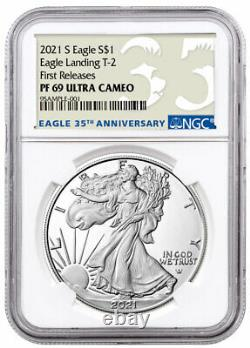 2021 S Proof American Silver Eagle Type 2 Ngc Pf69 Uc Fr 35th Anniv Presale