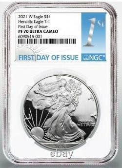 2021 W 1 $ American Proof Silver Eagle Type 1 Ngc Pf70 Premier Jour D'émission Fdoi