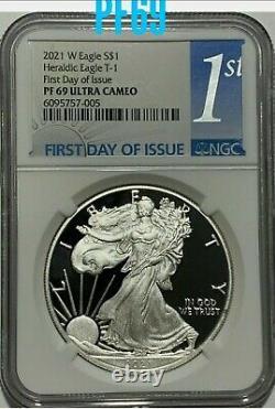 2021 W $1 Ngc Pf69 Fdoi Ultra Cameo Premier Jour Proof Silver Eagle Heraldic T1