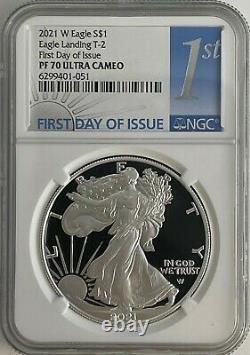 2021 W 1 $ T-2 Ngc Pf70 Fdi Ultra Cameo Premier Jour Preuve Silver Eagle Heraldic T-2