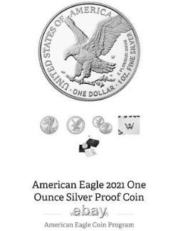 2021 W American Eagle 1oz Silver Proof Inverser Type 2 Lire Description