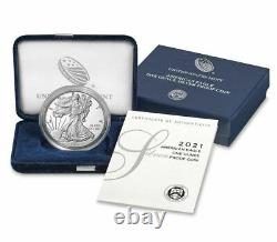 2021 W American Eagle One Ounce Silver Proof Pièce West Point 1 Oz Box & Coa 21ea