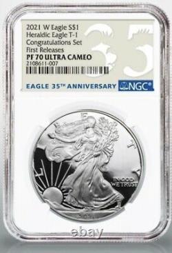2021 W American Silver Eagle Félicitations Set Ngc Pf70 Première Version Presale