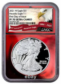 2021 W Proof American Silver Eagle Ngc Pf70 Uc Fdi Red Foil Core Red Banner