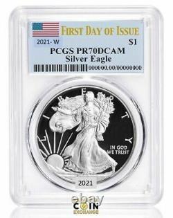 2021 W Proof American Silver Eagle Pcgs Pr70dcam Premier Jour De L'émission Presale