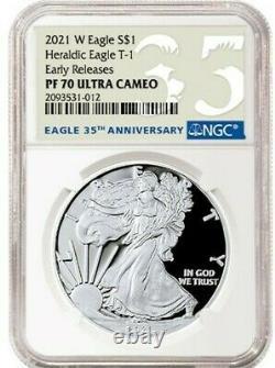 2021 W Silver American Eagle S$1 Héraldique Type 1 Ngc Pf70 Er Ucameo 35e Anniv