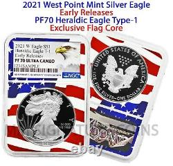 2021 W Silver Eagle Proof Type 1 Héraldique Eagle Ngc Pf70 Early Release Flagcore