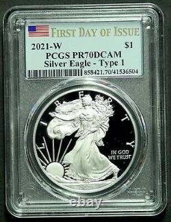 2021 W Type 1 American Silver Eagle Pcgs Pr70dcam Premier Jour Numéro Dernier Héraldique