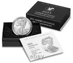2021-s Preuve $1 Type 2 American Silver Eagle Box, Ogp & Coa