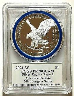 2021-w Avancé Type De Version 2 Proof Silver Eagle-pcgs Pr70-emily Damstra