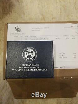 American Eagle 2019-s Une Once D'argent Preuve Inverse Amélioré Pièce En Main Coa