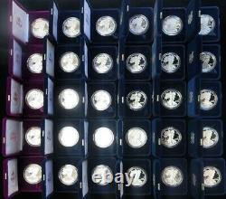 Complet 1986 -2019 American Silver Eagle 33 Proof Coins Set All Box's + Coa's