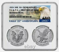 Dual! 2021 Inverser La Preuve American Silver Eagle Designer 2 Set Ngc Pf70 Fdoi Fdi