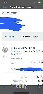 Fin De La Seconde Guerre Mondiale 75e Anniversaire American Eagle Silver Proof Coin