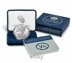 Fin De Ww2 V75th Anniversary American Eagle Silver Proof Coin Unopened / Sealed