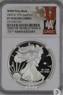 Ngc Pf70 2020 W Fin De La Seconde Guerre Mondiale 75e Silver American Eagle V75 À La Main