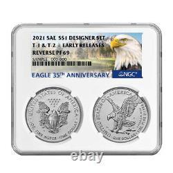 Presale 2021 Inverser La Preuve American Silver Eagle Designer 2pc Set Ngc Pf69 Er