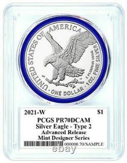 Presale 2021-w Avancé Type De Version 2 Proof Silver Eagle-pcgs Pr70-rarité