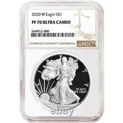 Preuve 2020-w Prêt 1 $ American Silver Eagle Ngc Pf70uc Brown Label