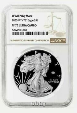 Prévente 2020 W V75 1 American Silver Eagle Ww II 2 75e Ngc Pf70 Brown Label