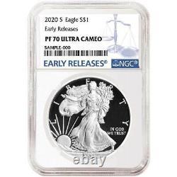 Prévente 2020-s Proof 1 $ Américain Silver Eagle Ngc Pf70uc Bleu Er Étiquette