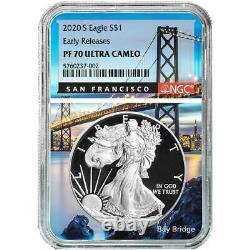 Prévente 2020-s Proof 1 $ Américain Silver Eagle Ngc Pf70uc Er San Francisco De Base