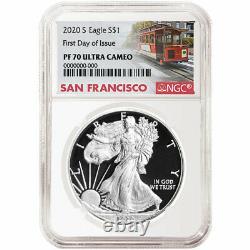Prévente 2020-s Proof 1 $ Américain Silver Eagle Ngc Pf70uc Fdi Étiquette Chariot