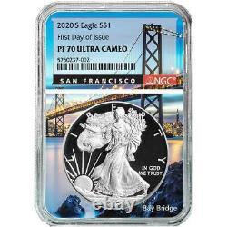 Prévente 2020-s Proof 1 $ Américain Silver Eagle Ngc Pf70uc Fdi San Francisco Cor