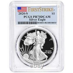 Prévente 2020-s Proof 1 $ Américain Silver Eagle Pcgs Pr70dcam Fs Étiquette Drapeau