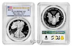Prévente 2021 W Proof Silver Eagle Pcgs Pr70 Dcam Advanced Release Flag Label