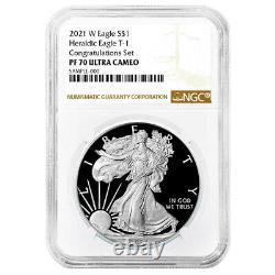 Prévente 2021-w Preuve $1 American Silver Eagle Congratulations Set Ngc Pf70uc B