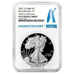 Prévente 2021-w Preuve $1 American Silver Eagle Ngc Pf70uc Ar Advanced Releases