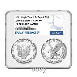 Prévente 2021-w Preuve $1 Type 1 Et De Type 2 Argent Eagle Set Ngc Pf70uc Er Blue