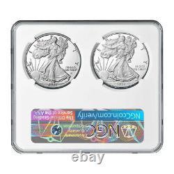 Prévente 2021-w Preuve $1 Type 1 Et Type 2 Silver Eagle Set Ngc Pf70uc Firs D'ide