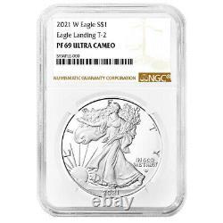 Prévente 2021-w Preuve $1 Type 2 American Silver Eagle Ngc Pf69uc Brown Label