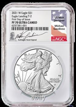 Prévente 2021-w Preuve $1 Type 2 American Silver Eagle Ngc Pf70uc Fdi Gaudioso
