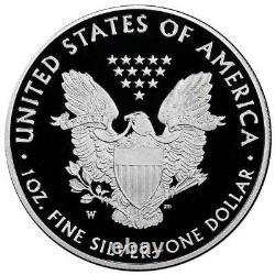 Prévente 2021-w Proof $1 American Silver Eagle Congratulations Set Box Ogp & Co