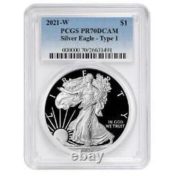 Prévente 2021-w Proof $1 American Silver Eagle Pcgs Pr70dcam Blue Label