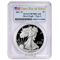 Prévente 2021-w Proof $1 American Silver Eagle Pcgs Pr70dcam Fdoi Flag Label
