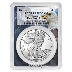 Prévente 2021-w Proof $1 Type 2 American Silver Eagle Pcgs Fdoi Pr70dcam Eagle