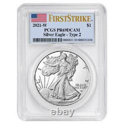 Prévente 2021-w Proof $1 Type 2 American Silver Eagle Pcgs Pr69dcam Fs Flag Lab