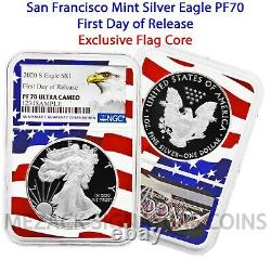 Proof 2020-s Preuve De 1 $ American Silver Eagle Ngc Pf70 Ultra Cameo Fdor Drapeau Noyau
