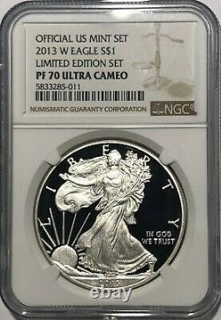 W Ngc Pf70 Ultra Cameo Proof Silver American Eagle 2013 De L'ensemble En Édition Limitée